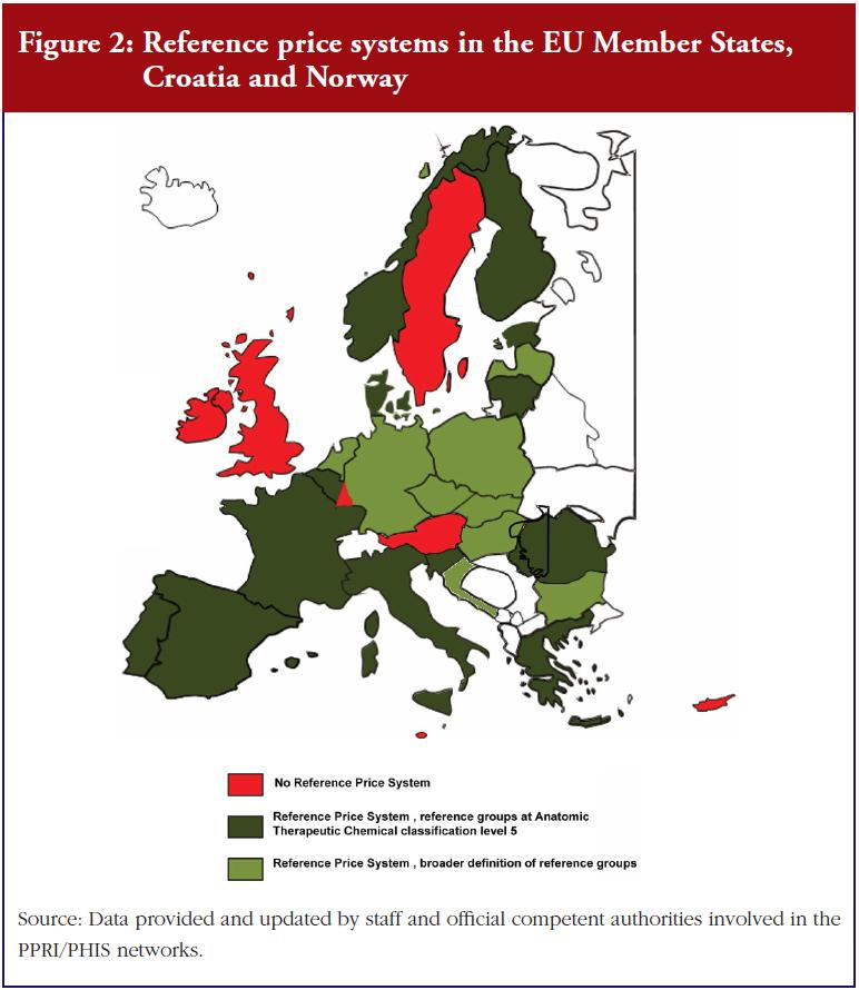 Figure 2: Reference price systems in the EU Member States, Croatia and Norway